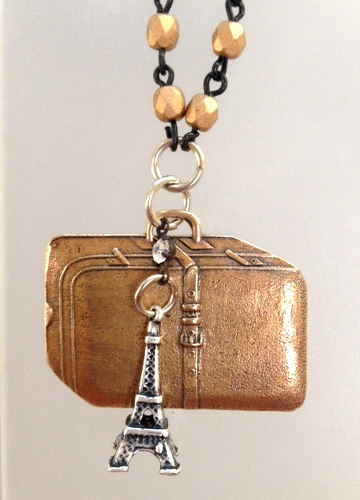FRENCH Bronze SUITCASE Luggage Charm EIFFEL Tower Charm Pearl Necklace PARIS Rue De RIVOLI-n-rivo
