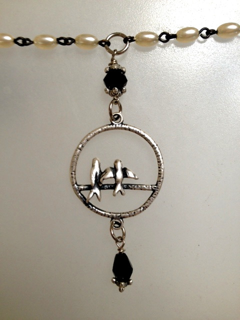 Silver BIRDS Charm NECKLACE Ivory PEARLS Black Crystals-n-brd