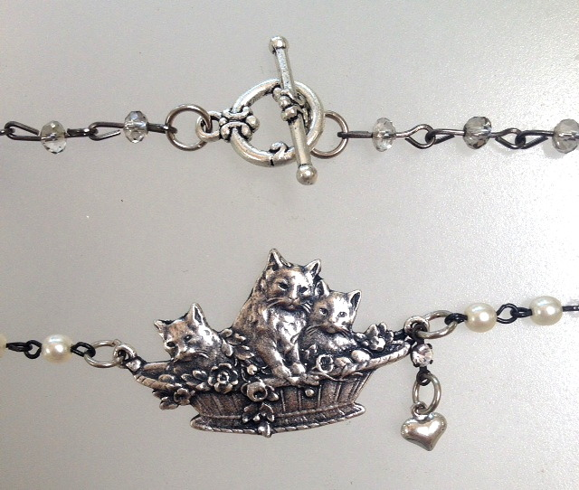 Silver PARIS CAT Kitten Basket Charm Necklace w HEART-n-scat