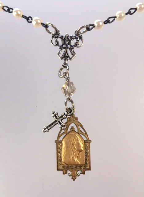 RELIGIOUS Antique Gold LOURDES Virgin Mary Medal SILVER CROSS Charm Necklace ANGELS -n-sglou