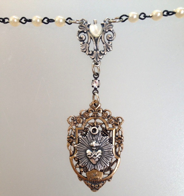 Silver SACRED HEART with Bronze Filigree Frame Pearls Necklace-n-sh2m