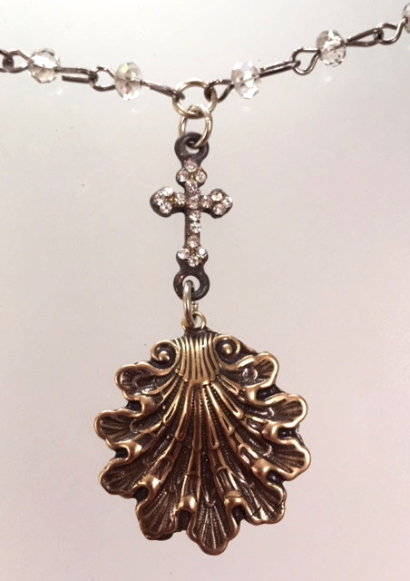 French Bronze Scallop SHELL Charm with Rhinestone CROSS Necklace-n-shell