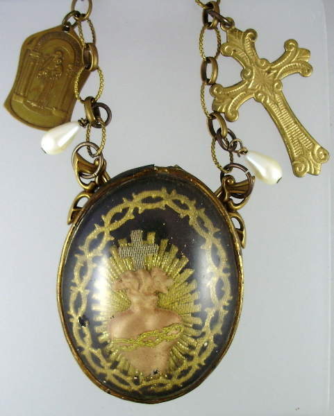 FRENCH Antique Gilt SACRED HEART Religious Pendant Necklace CROSS Medal PEARLS-n-shf