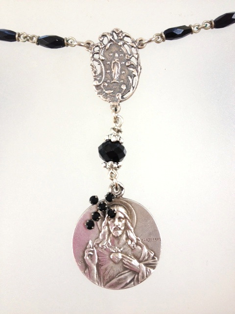 Antique Religious STERLING Silver SACRED HEART JESUS Miraculous Mary LOURDES Pendant Black ROSARY BEADS Necklace-n-shjx