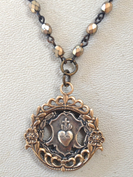 FRENCH Silver BRONZE Locket SACRED HEART Jesus Medal  Pearl Crystal NECKLACE-n-shlck