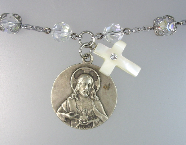 Antique Silver French JESUS Sacred Heart Our Lady PERPETUAL Help ANGEL Medal Pendant NECKLACE  Mother of PEARL CROSS-n-shph