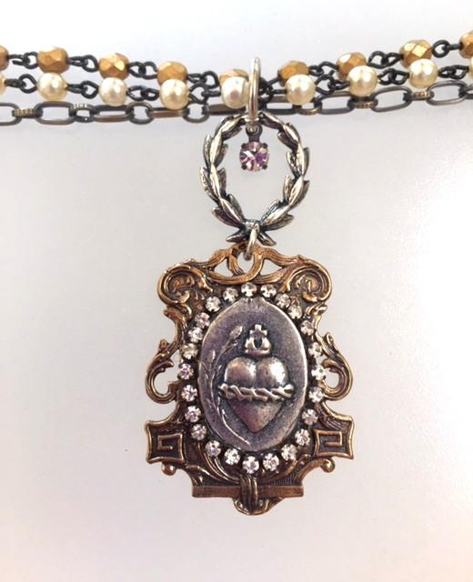ART NOUVEAU Silver SACRED HEART Medal Triple Strand Necklace WREATH-n-shslv