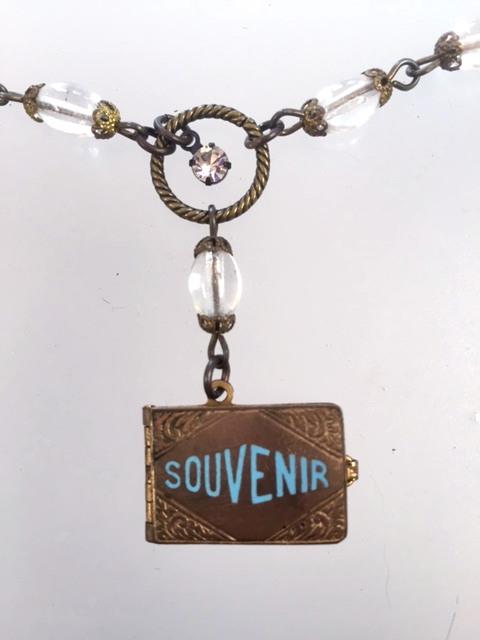 ENGLISH Antique SKEGNESS GUILLOCHE Enamel Repousse SOUVENIR Photo Book Locket BIRD Charm Necklace-n-skeg