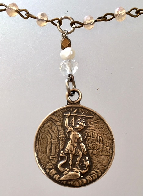Bronze SAINT MICHAEL Medal Necklace MONT St Michel-n-smstmkz