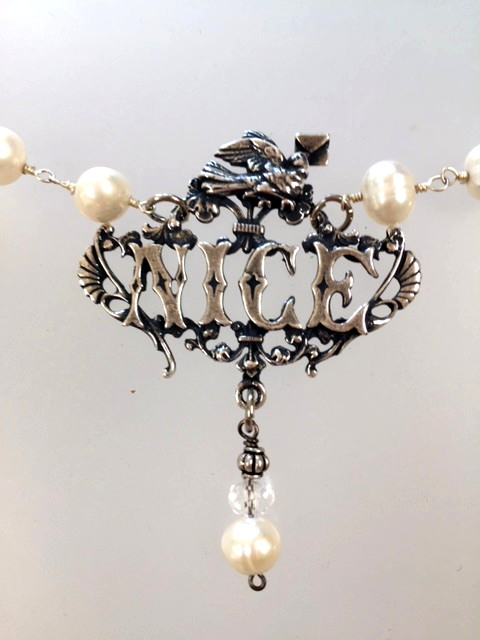 NICE French RIVIERA Love Letter DOVE NECKLACE Genuine PEARLS-n-snice