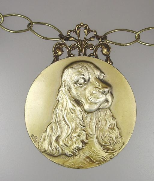 Vintage Italian SPANIEL Dog  Pendant NECKLACE Pearl Crystals-n-span
