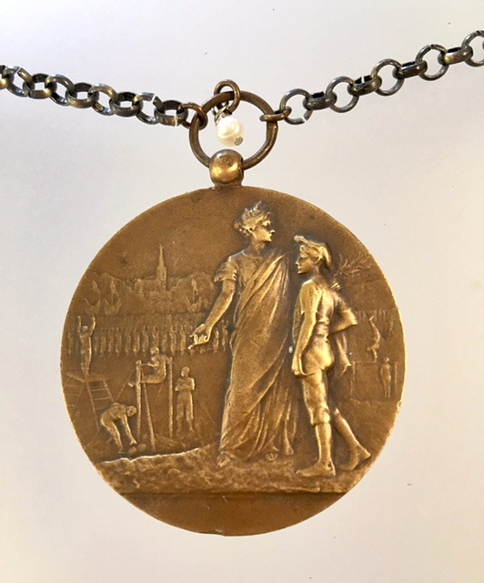 Original Antique 1934  FRENCH Bronze SPORTS AWARD Medal NECKLACE-n-sprt