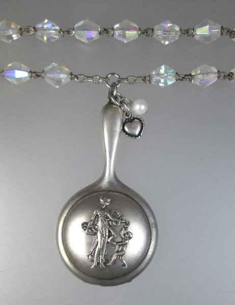 FRENCH STERLING Silver Antique Art NOUVEAU Woman CHERUB CHATELAINE Compact Necklace AB Crystal Beads-n-ss2m