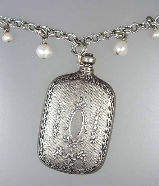 FRENCH Antique REPOUSSE Sterling SILVER Perfume Bottle Pendant NECKLACE -n-sscrt