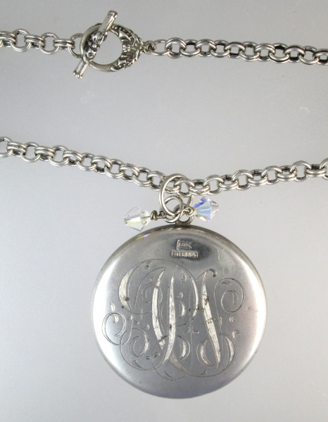 Antique FOSTER & Bailey STERLING Silver CHATELAINE MIRROR Necklace-n-ssmir