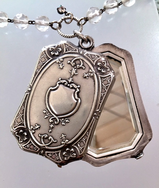 Antique FRENCH Chatelaine STERLING Silver Art Nouveau ROSES Repousse Slide MIRROR Photo Locket Necklace-n-ssmirrz