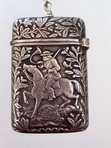 ROMANTIC French Sterling SILVER Repousse HORSE Equestrian MATCH SAFE Locket NECKLACE-n-ssmtch