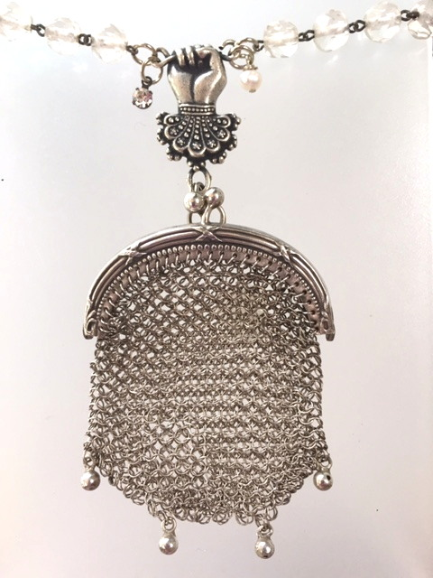 Antique French CHATELAINE STERLING Silver COIN PURSE Necklace Ball TASSELS-n-ssprshn