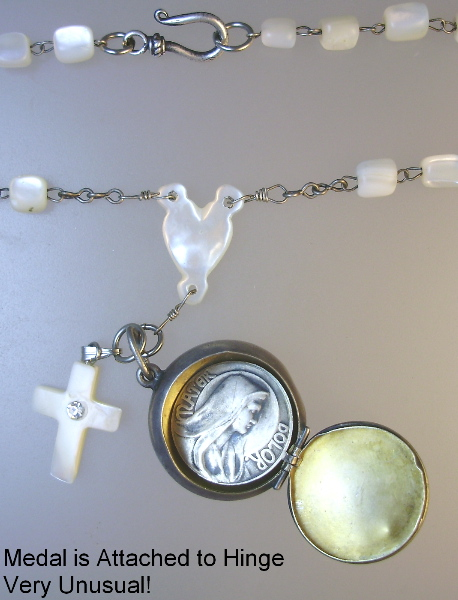 Religious ANTIQUE French STERLING Silver ROSARY Box Mother of PEARL Beads CROSS  VIRGIN Mary JESUS Medal Pendant NECKLACE-n-ssrb
