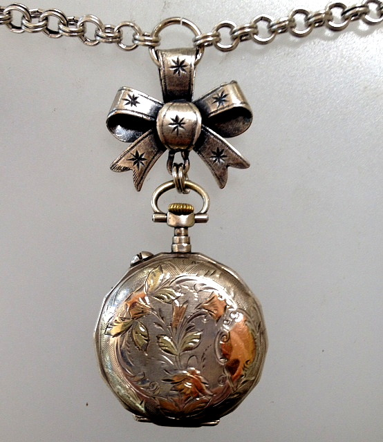 PARIS Antique FRENCH Enamel Face Sterling Silver ROSE Gold REPOUSSE WATCH Necklace Pendant BOW -n-sswt