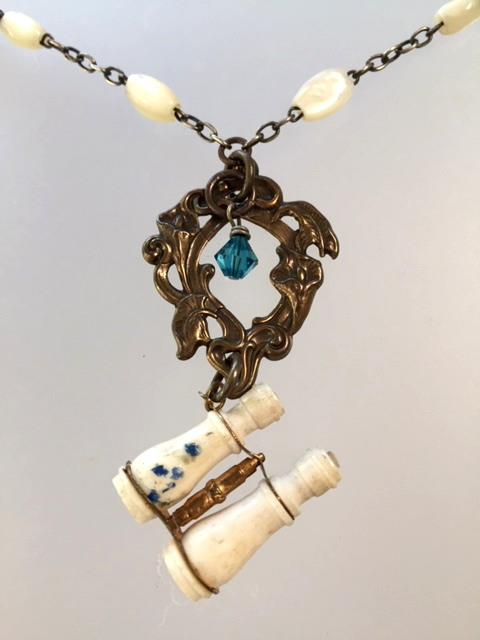 Antique FRENCH Victorian STANHOPE Binoculars Cesar RATH Mother OF PEARL Beads Pendant Necklace -n-stan