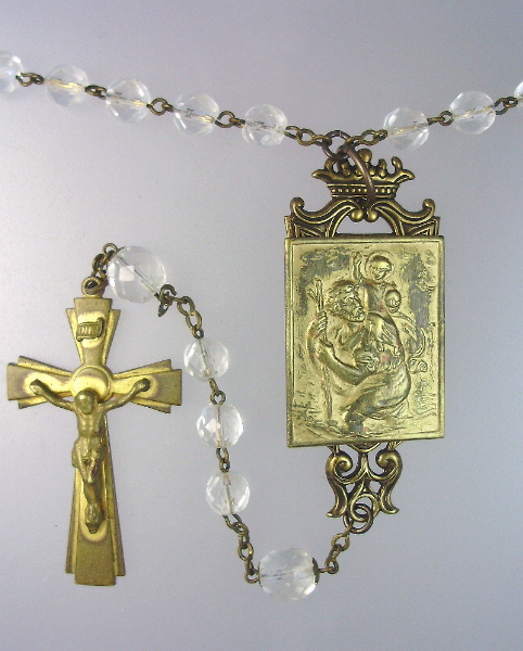 FRENCH Antique Religious Saint CHRISTOPHER  ROSARY BEADS with CROSS Pendant NECKLACE Cross-n-stccr