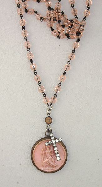 FRENCH Antique Religious Saint CHRISTOPHER  ROSARY BEADS with Rhinestone CROSS NECKLACE -n-stcrh