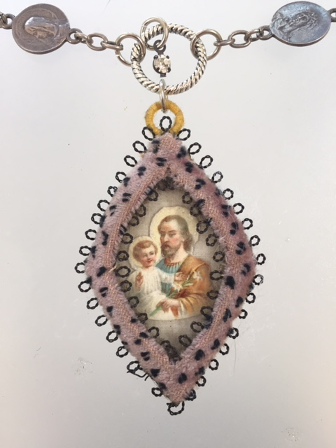 Religious ANTIQUE French ST JOSEPH Baby JESUS Velvet ROSARY BEAD Pendant NECKLACE-n-stjbv