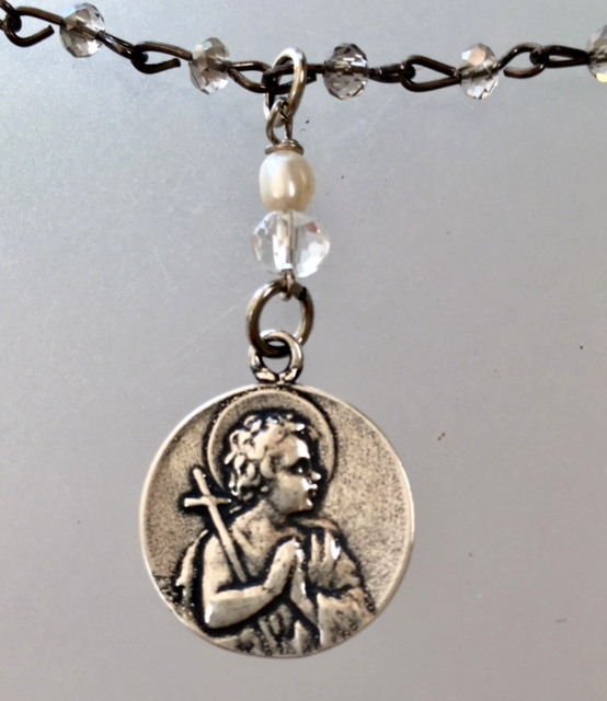 Silver SAINT JOHN BAPTIST Medal Necklace LAMB of GOD-n-stjhn