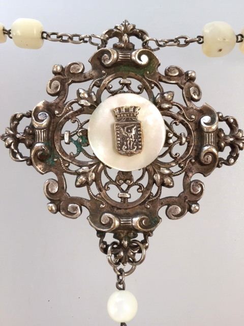 Religious Antique French SAINT MICHAEL Medal NECKLACE Mother of PEARL Bead CROSS-n-stmmop