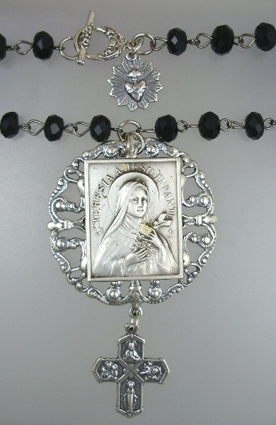 Antique Saint Teresa Pendant STERLING Silver 4 Way Cross SACRED HEART NECKLACE Black CRYSTAL Beads-n-sttblk