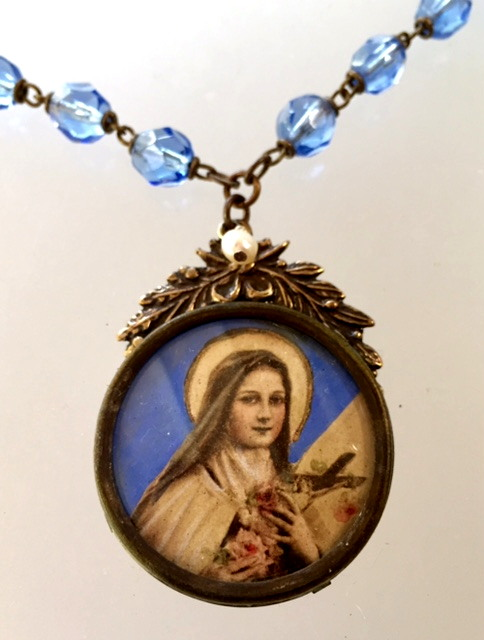 Antique FRENCH Religious Saint TERESA PORTRAIT Medal Pendant CRYSTAL Beads Necklace CROSS-n-sttcol