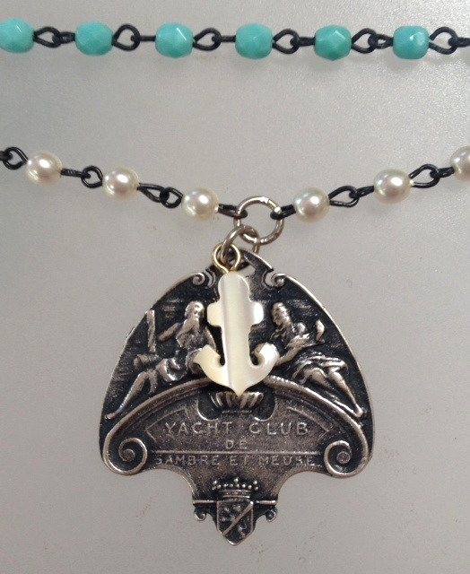 FRENCH Silver YACHT CLUB Medal TIFFANY BLR-n-tbychtUE Beads Pearls ANCHO