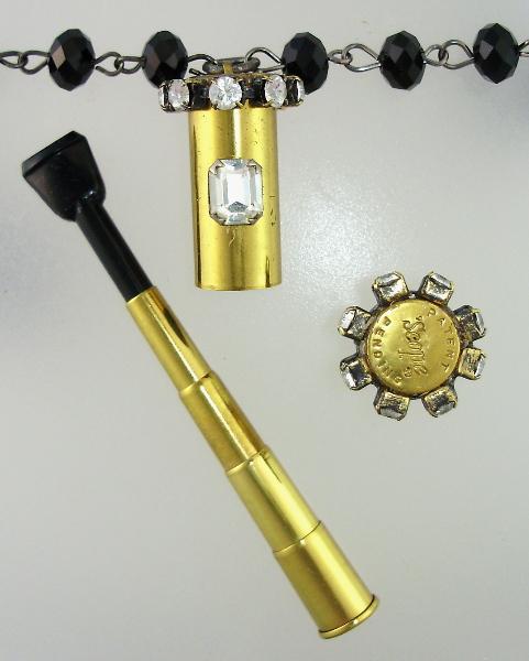 SCOPE Vintage Telescopic Cigarette Holder Necklace PENDANT Rhinestones-n-tele