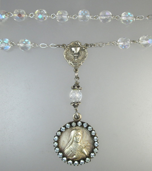 Antique Religious Saint TERESA Sterling SILVER  First COMMUNION Medal Pendant AB ROSARY BEADS Necklace-n-ter