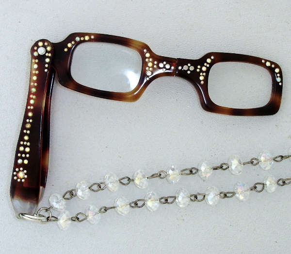 Vintage 1950s TORTOISE LORGNETTE Folding Glasses Pendant NECKLACE  Crystal RHINESTONES-n-tortr