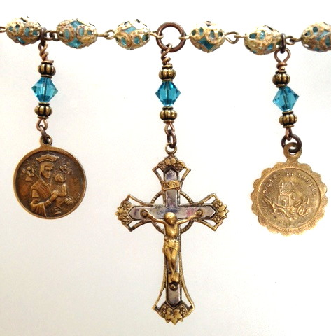 Antique FRENCH Religious TURQUOISE Filigree Capped  ROSARY Virgin Mary CROSS Charm NECKLACE Medals-n-tq3filg
