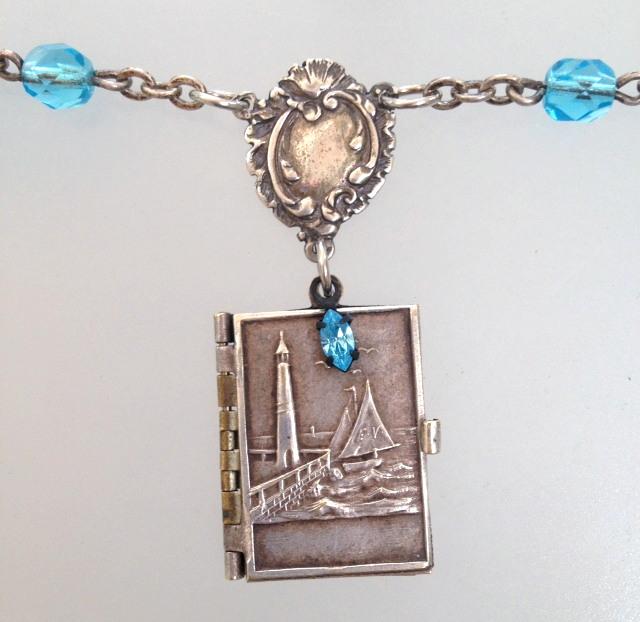 FRENCH Antique NAUTICAL Repousse Souvenir Photo Book Locket Charm STERLING Silver CARTOUCHE-n-tqanch