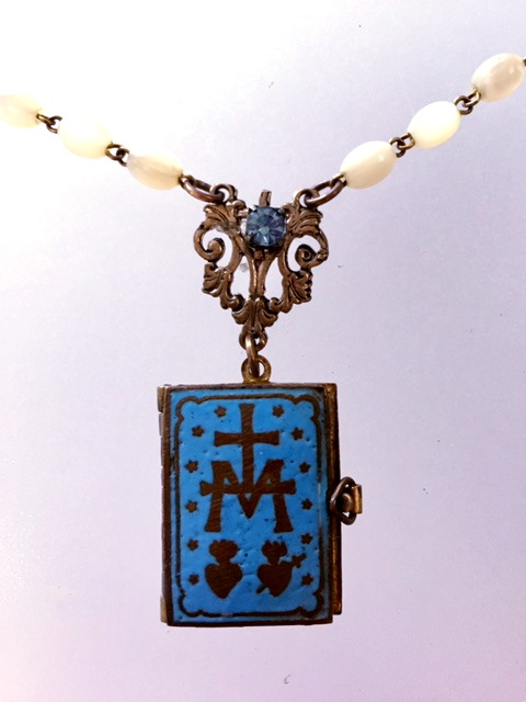 FRENCH Antique C1890 PARIS Art Nouveau Turquoise Blue ENAMEL SACRED Heart Sacre COEUR Souvenir Photo Book LOCKET with SAINT Charm Mother of Pearl ROSARY-n-tqbookjj