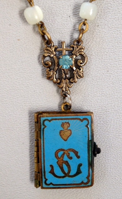 FRENCH Antique C1890 PARIS Art Nouveau Turquoise Blue ENAMEL SACRED Heart Sacre COEUR Souvenir Photo Book LOCKET with SAINT Charm Mother of Pearl ROSARY-n-tqbook