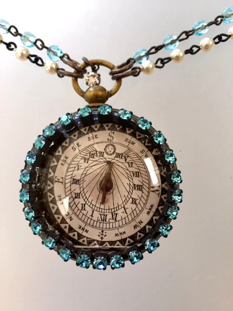 Antique FRENCH Sundial COMPASS Necklace PEARLS Tiffany Blue Rhinestones CRYSTAL Beads Necklace-n-tqcmpz