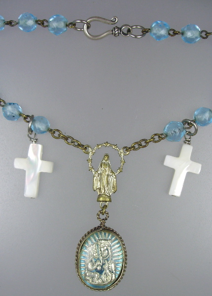 Antique FRENCH Religious Turquoise Rosary Beads VIRGIN Mary MERCURY GLASS Medal Necklace Mother of PEARL CROSS-n-tqmg