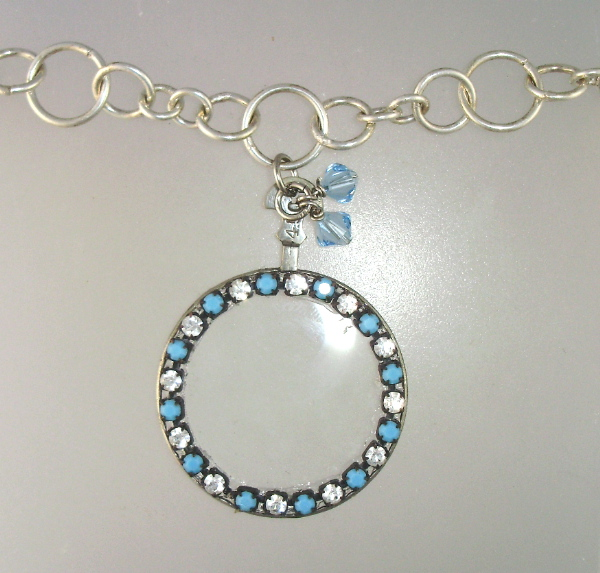 SILVER MONICLE Lorgnette Pendant Necklace CRYSTAL Beads-n-tqmon