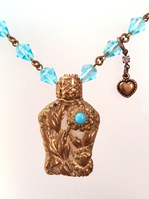 Antique FRENCH Victorian CHATELAINE Perfume SCENT Bottle Pendant Necklace TURQUOISE Beads-n-tqprf