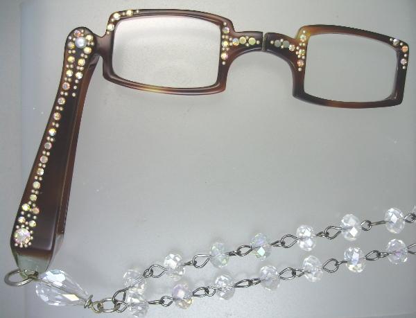 Vintage 1950s TortoiseShell LORGNETTE Folding Glasses Pendant NECKLACE Aurora Borealis Freshwater PEARLS CRYSTAL Beads AB RHINESTONES-n-tortr