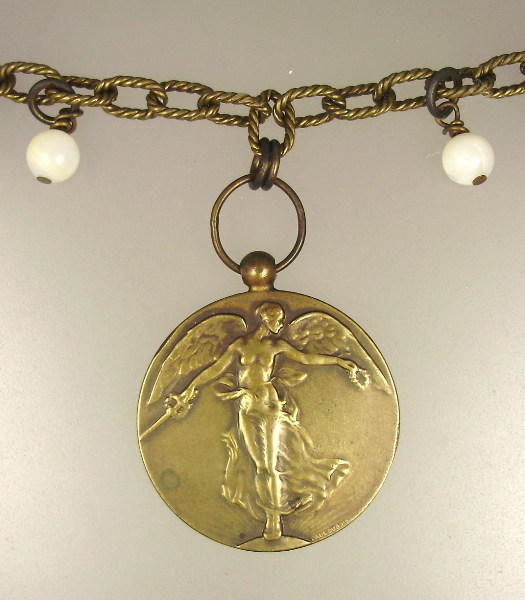 Original Antique BRONZE VICTORY ANGEL WWI Paul Dubois Medal NECKLACE-n-vab