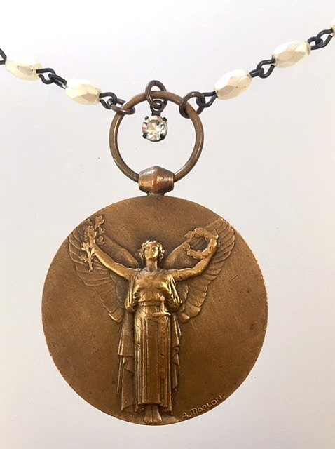 Original Antique FRENCH Bronze VICTORY ANGEL WWI Medal NECKLACE-n-vafrn
