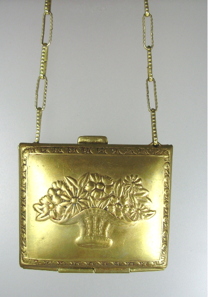 Antique FRENCH Victorian Gold CHATELAINE Purse Pendant Necklace on Ornate Engraved Link Chain-n-vbsk