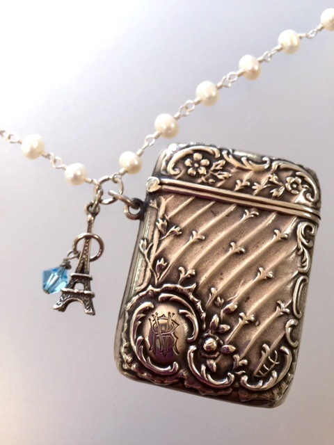 ROMANTIC French Sterling Repousse MATCH SAFE Locket NECKLACE with STERLING SILVER EIFFEL TOWER Charm PILL BOX -n-vest