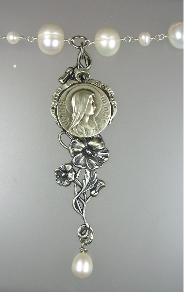 ANTIQUE French Virgin Mary Pendant Necklace on Sterling Silver Wrapped Freshwater PEARLS-n-vgpp